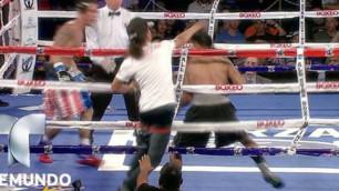 Шаршы алаңға жүгіріп шыққан жанкүйер боксшыны нокауттан аман алып қалды